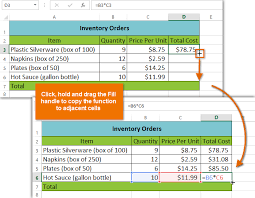 screenshot of excel 2016 copying a formula to adjacent cells using