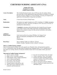 Free Sample Resume Certified Nursing Assistant Refrence Cna Resume