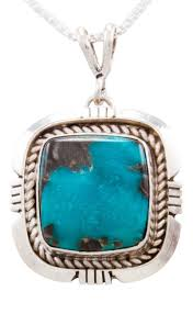 navajo native american turquoise mountain turquoise pendant necklace by secatero