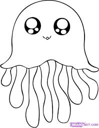 jellyfish cute cartoon sea coloring pages