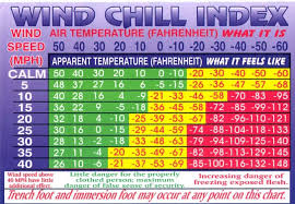 Cold Weather Injuries Wind Chill Chart Card Weather Cold