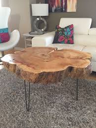 Tree Trunk Table With Metal Legs Wood Coffee Table With Hairpin Legs, Coffe Tree  Stump