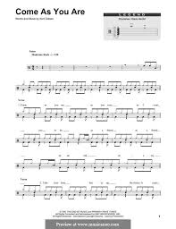 drum set sheet music come as you are nirvana by k cobain sheet music on musicaneo