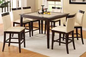 kitchen table. Elegant Dining Room Design With Tall Square Kitchen Table Set, Beige Leather Chairs,
