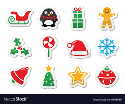 Christmas Icons As Labels