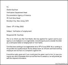 Verification Letter From Employer Employee Work Verification Letter Employment Verification