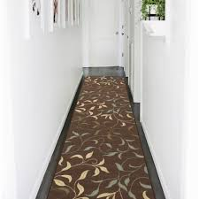 ottomanson ottohome collection contemporary leaves design chocolate 2 ft x 7 ft runner rug oth2068 2x7 the home depot