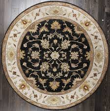 rugsville classic fl black round oushak persian style oriental rug 244x244