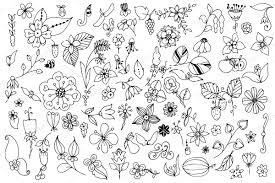 Doodle Art Nature Elements Set Illustrations Creative Market