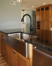 Kitchen Sinks For Granite Countertops Dark Granite On Island With Stainless Steel Farm Sink And