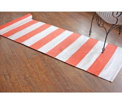 peach brick pink plain stripe cotton runner rugs