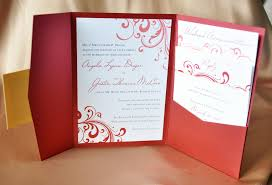 red swirl with gold accents pocketfold wedding invitations 3