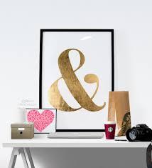 printable wall art e gold ampersand wall decor