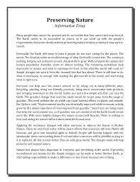 essay 5 preserving nature informative essay