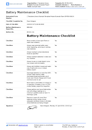 Maintenance Report Template Battery Maintenance Checklist Forklift Industrial Golf