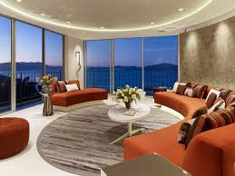 dropped ceiling lighting. Wonderful-living-room-with-ocean-view-led-dropped-ceiling-lighting -red-round-sofa-plus-bay-window Dropped Ceiling Lighting