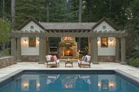 Outdoor Pool And Fireplace Designs  Outdoor Kitchen And Pool Small Pool House Designs