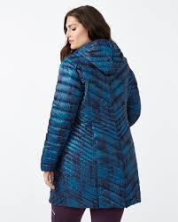 activezone long plus size printed packable jacket