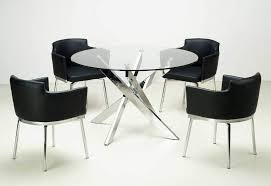 dining set with round glass dining table top and chairs