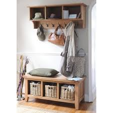 Oak Coat Rack With Baskets Mesmerizing Montague Oak Storage Bench With 32 Baskets Front Entrances Wall