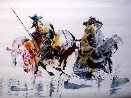 acrylic painting don quijote by rezvan kani