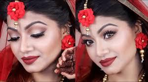 simple red e holud makeup tutorial odbo cosmetics makeup tutorial deshi bridal makeup