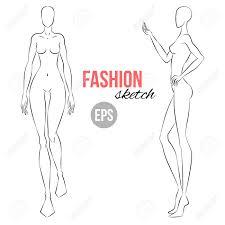 Clothes Design Sketch Model Vector Outline Girl Model Template For Fashion Sketching Illustration