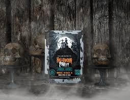 Free poster mockups free posters on wooden background mockup. Free Psd Halloween Party Poster Mock Up And Skulls On Wooden Background