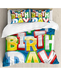 blue duvet cover set happy birthday lettering with pillow sham s
