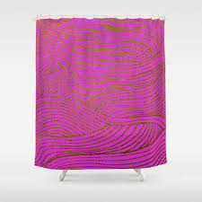 wind hot pink gold shower curtain by sandra arduini