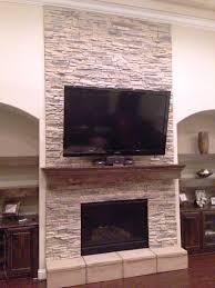 diy stacked stone fireplace surround round designs