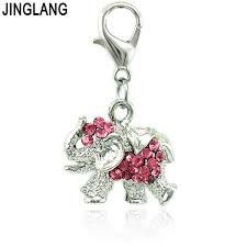 jinglang whole animals charm with lobster clasp rhinestone elephant pendants diy charms for jewelry making accessories