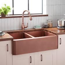 33 Aberdeen 6040 Offset Double Bowl Copper Farmhouse Sink Kitchen
