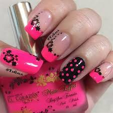 hot pink black nails with flowers and dots designs