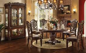 60 Round Dining Table Set Acme Vendome 7pc Single Pedestal Round Dining Room Set In Cherry