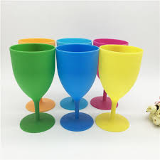 350ml frosted plastic goblet non toxic candy color red wine cup champagne glass hot w8653