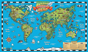 kid's world map interactive wall chart  round world products