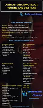 Fitness Diet Chart John Abraham Workout Routine And Diet Plan Dr Workout