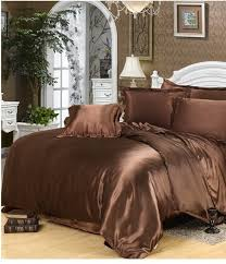luxury silk bedding set brown satin california king size queen doona quilt duvet cover ed bed