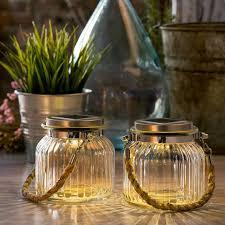 lights com solar lights solar lanterns solar warm white glass jar light with rope handle set of 2