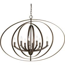 progress lighting equinox 8 light antique bronze orb chandelier