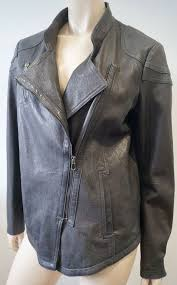 details about poetry grey leather collarless lapels zipper fastened lined biker style jacket