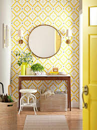 yellow tepete pattern wallpaper living room wall decoration ideas zitronnengelb door