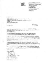 documents letter from emanuel sklavounos dpc to david gates nsw health requesting section 87 permanent transfer psem act 2002 of peter tibbitts from nsw health