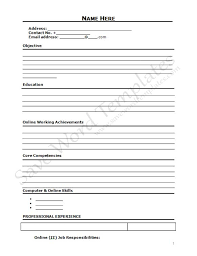 Blank Resume Template Interesting Free Blank Resume Templates Download Or Blank Basic Resume Template