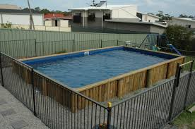 Swimming Pool Simple Wooden Above Ground Fiberglass Pool Design