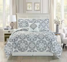 piece medallion floral blackgraywhite comforter set