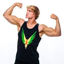 fanjoy logan paul. logan paul showing his muscles fanjoy