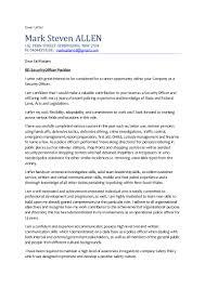 best cover letter for mark allen security officer