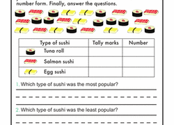 Online Tally Chart Counter Tally Chart At The Sushi Counter Worksheet Education Com